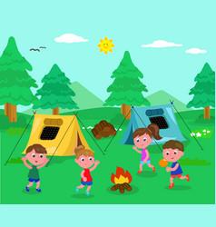 Camping kids vector