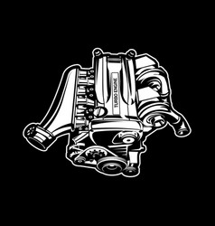Car engine turbo muscle car speedster vector