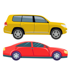 car transport set jeep hotrod automobile vehicle vector image