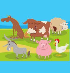 cartoon farm animals group in countryside vector image