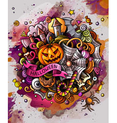 cartoon hand drawn watercolor doodles halloween vector image