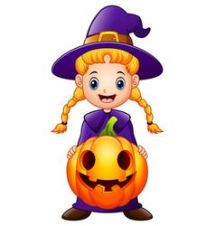 cartoon little witch holding a pumpkin vector image