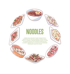 Chinese noodles advertising with asian dishes vector