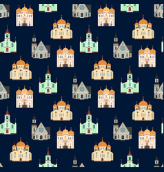 christian churches seamless pattern church vector image