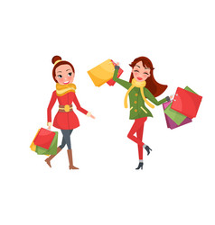 Christmas shopping happy two women day vector