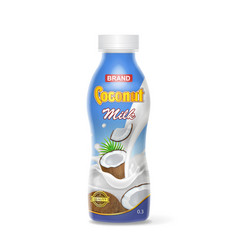 coconut milk plastic bottle package design vector image