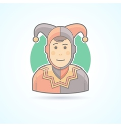 Court jester harlequin fool clown icon vector image
