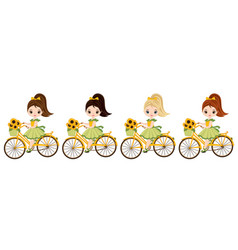 cute little girls riding bicycles vector image