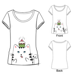 Cute t-shirt with cat vector
