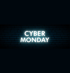 cyber monday neon sign luminous cyber hologram vector image
