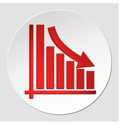 Declining business arrow on diagram growth vector