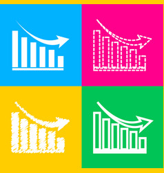 declining graph sign four styles of icon on four vector image