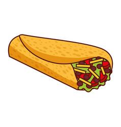 Delicious mexican food burrito vector