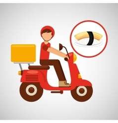 delivery boy ride motorcycle nigiri sushi vector image