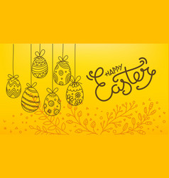 easter eggs 3d and in doodle style holiday banner vector image