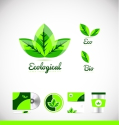 Ecological eco bio leaf green logo icon design vector