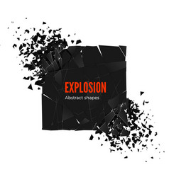 explosion and fragmentation black square isolated vector image