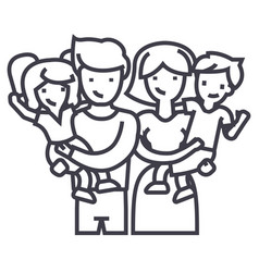familyhappy parents and children keep on hands vector image