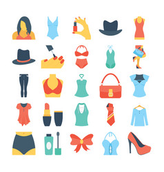 fashion and clothes colored icons 7 vector image