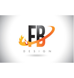 Fb f b letter logo with fire flames design and vector