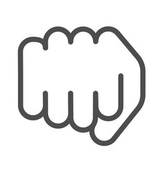 fist line icon forward punch vector image