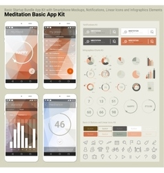 Flat design responsive UI mobile app and website vector image
