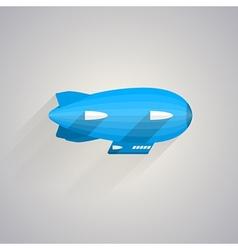Flat icon of blue Zeppelin vector