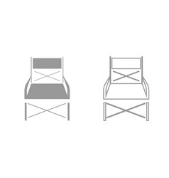 folding chair grey set icon vector image