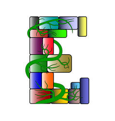 Font in a multi-colored cubic style letter e vector