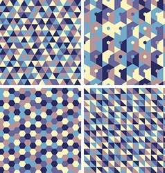 Four seamless geometric retro patterns vector image