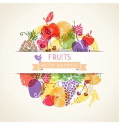 Fruits and berries in the circle on paper vector image