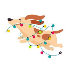 Funny dog running with garland symbol xmas and vector