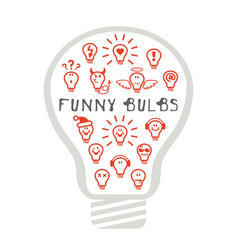 funny light bulbs vector image