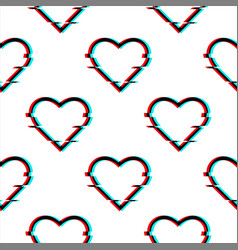 glitched seamless pattern with symbol of vector image