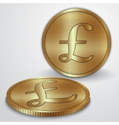Gold coins with GBP pound currency sign vector