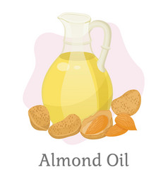 Hair oil almond nut and liquid in bottle vector
