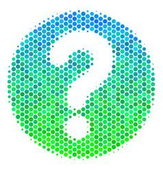 Halftone blue-green query icon vector