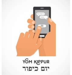 Hand holding a smartphone and sending traditional vector