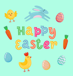happy easter cute banner with colored ornate eggs vector image
