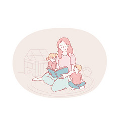happy leisure and activities at home with children vector image