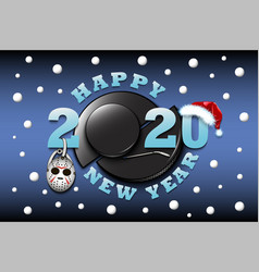 happy new year 2020 and hockey puck vector image