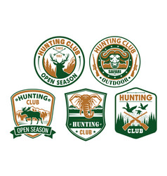 Hunting club wild animals icons for badges vector