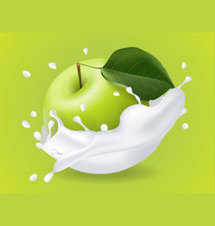 juicy green apple in milk splashes vector image