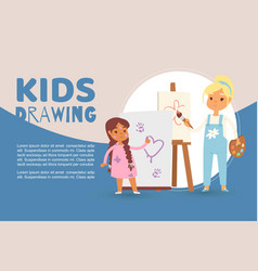 Kids in art class drawing pictures vector