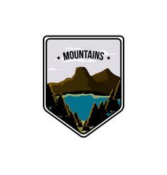 Lake and mountain vector