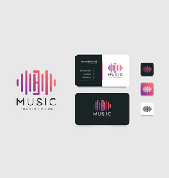 Letter b music wave elegant logo and business vector