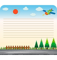Line paper design with park and road vector