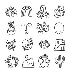 little modern style outline collection set vector image