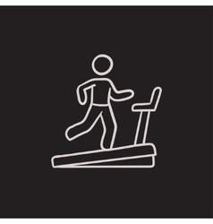 Man running on treadmill sketch icon vector image