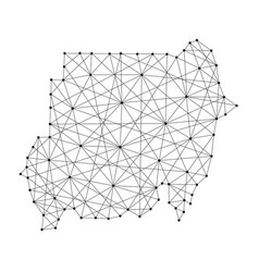Map of sudan from polygonal black lines and dots vector